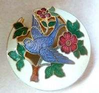 Vintage Cloisonne Enamel Blue Bird And Tree Brooch By Fish And Crown.